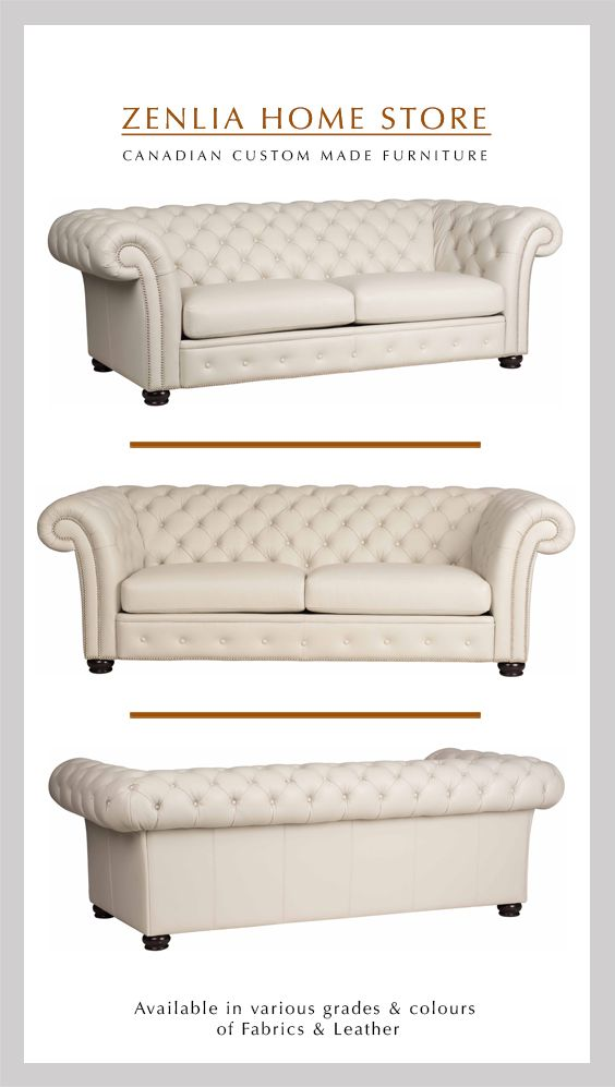 Shown In Leather A Gorgeous Roll Arm Sofa With A Flair Rich With Deep Tufting Accent Nail Heads Custo Custom Made Furniture Leather Sofa Rolled Arm Sofa