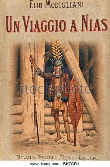Cover of the book Viaggio a Nias by Modigliani, 1900, Indonesia, Southeast Asia, Asia - Stock Image