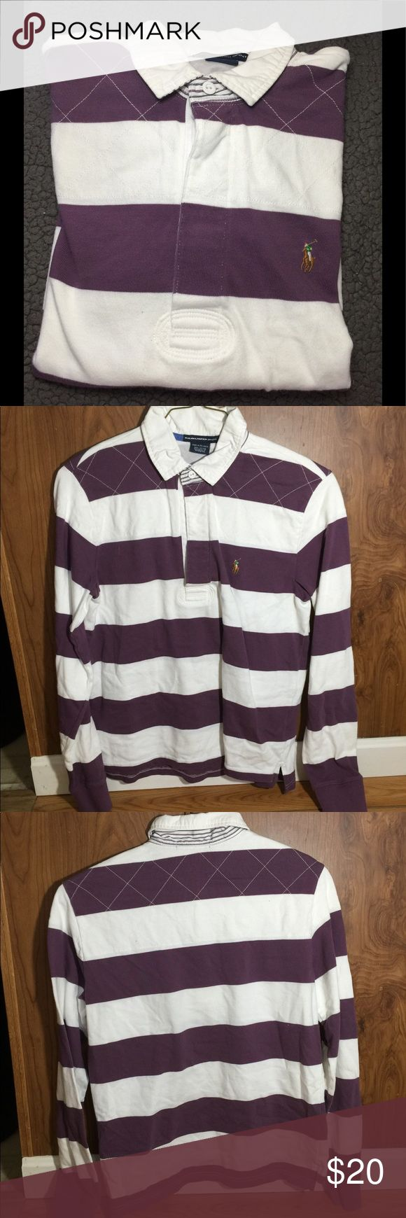 Polo Ralph Lauren L/S Women's Rugby Shirt Excellent Used Condition  Polo Ralph Lauren Sport Women's long sleeve Rugby shirt  Size: XL Color: purple and white  From a smoke free and pet free home No holes or stains Ralph Lauren Tops Tees - Long Sleeve