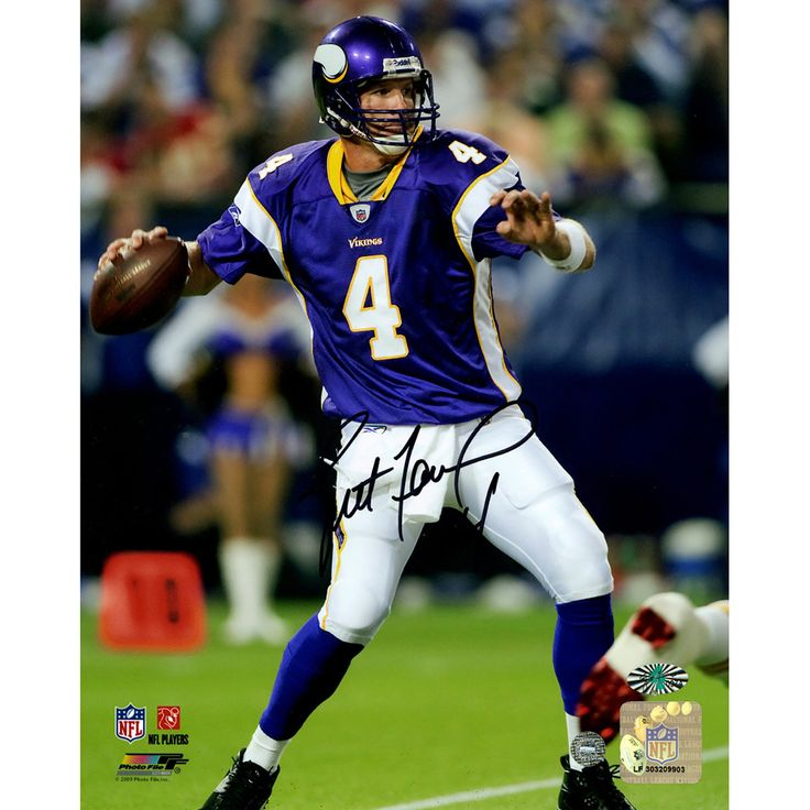 Brett Favre Minnesota Vikings Purple Jersey Passing 8x10 Photo (Athlon Auth) - Vikings great Brett Favre has personally hand-signed this Purple Jersey Passing 8x10 Photo-Brett Favre has been one of the best quarterbacks to ever play the game since he first stepped onto the turf in 1992. Favre is the NFLs only three-time MVP in NFL history. A sure Hall of Famer Favre holds many of the NFL records and will always be remembered for his toughness. This is guaranteed by Athlon Authentication…