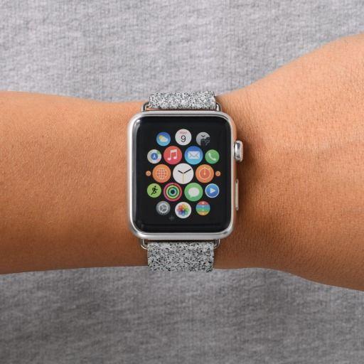 Beautiful Silver glitter sparkles Apple Watch Band by #PLdesign #sparkles #SilverSparkles #SparklesGift #zazzle