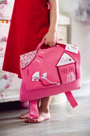 Un cartable en tissu tout rose // Pink school bag for childre, girl, school, house