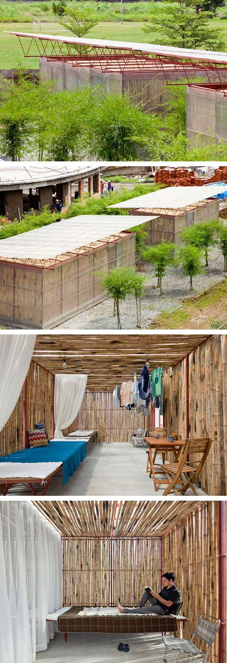 Low Cost House by Vo Trong Nghia Architects. Lightweight steel frame roof structure and layered walls of corrugated poly-carbonate and bamboo.