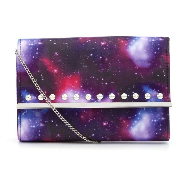 Purple Cosmic Print Studded Clutch ❤ liked on Polyvore