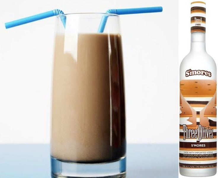 "Three Olives Vodka  For a sweet and easy treat, try a ""S'mores Chocolate Milk""!  1 oz. Three Olives S'mores Vodka   Fill glass with chocolate milk  More S'mores recipes here! http://www.threeolives.com/recipes/smores"