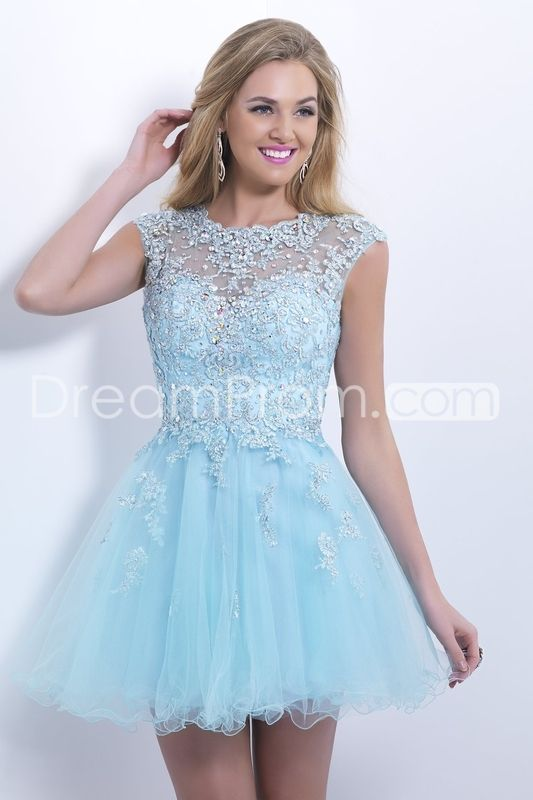 2014 Scoop Short/Mini Prom Dress A Line Tulle Skirt Embellished Bodice With Beads And Applique Cap Sleeve