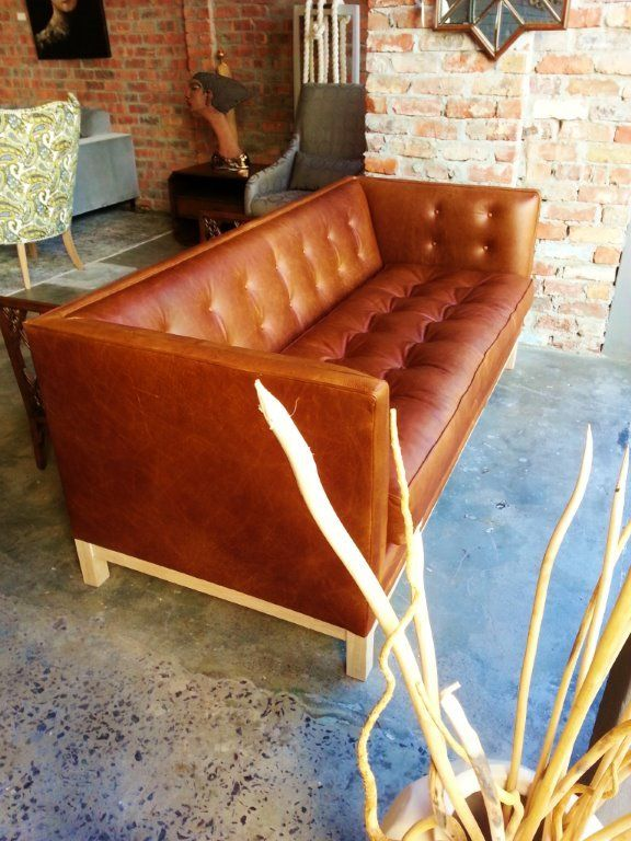 Love this gorgeous 'Lampert' sofa from Wunders made with our Pista Pecan leather.