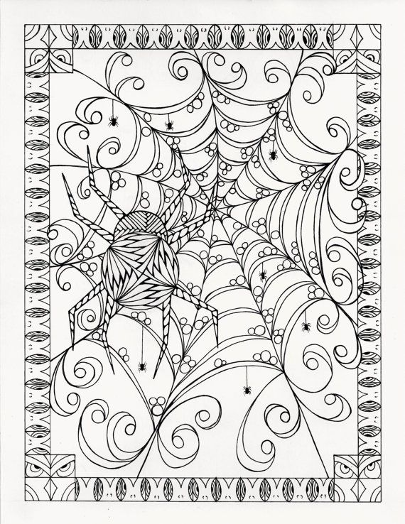 Halloween Coloring Page From An Original By KellysInkCreations Abstract Doodle Zentangle Pages Colouring Adult Detailed