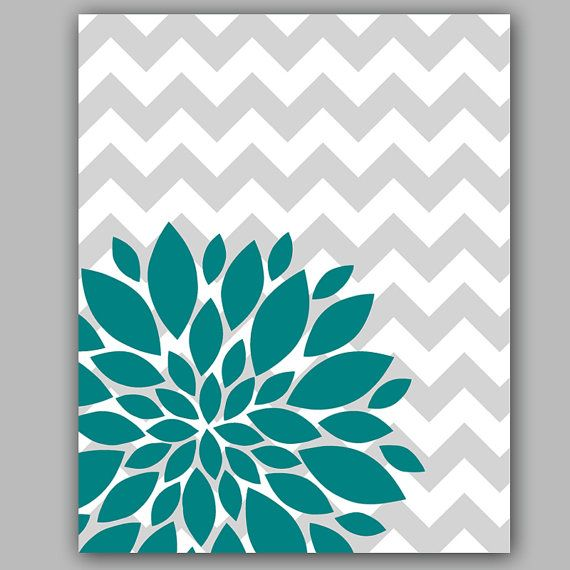 "Flower Bursts Botanical Printable Art -8"" x 10"" // Grey Chevrons and Teal // Digital Fine Art Modern Wall Art Prints Home Decor (43)"