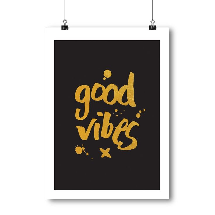 Good Vibes Foil Print in Black/Pink | Art Prints | Homeware - Me and My Trend