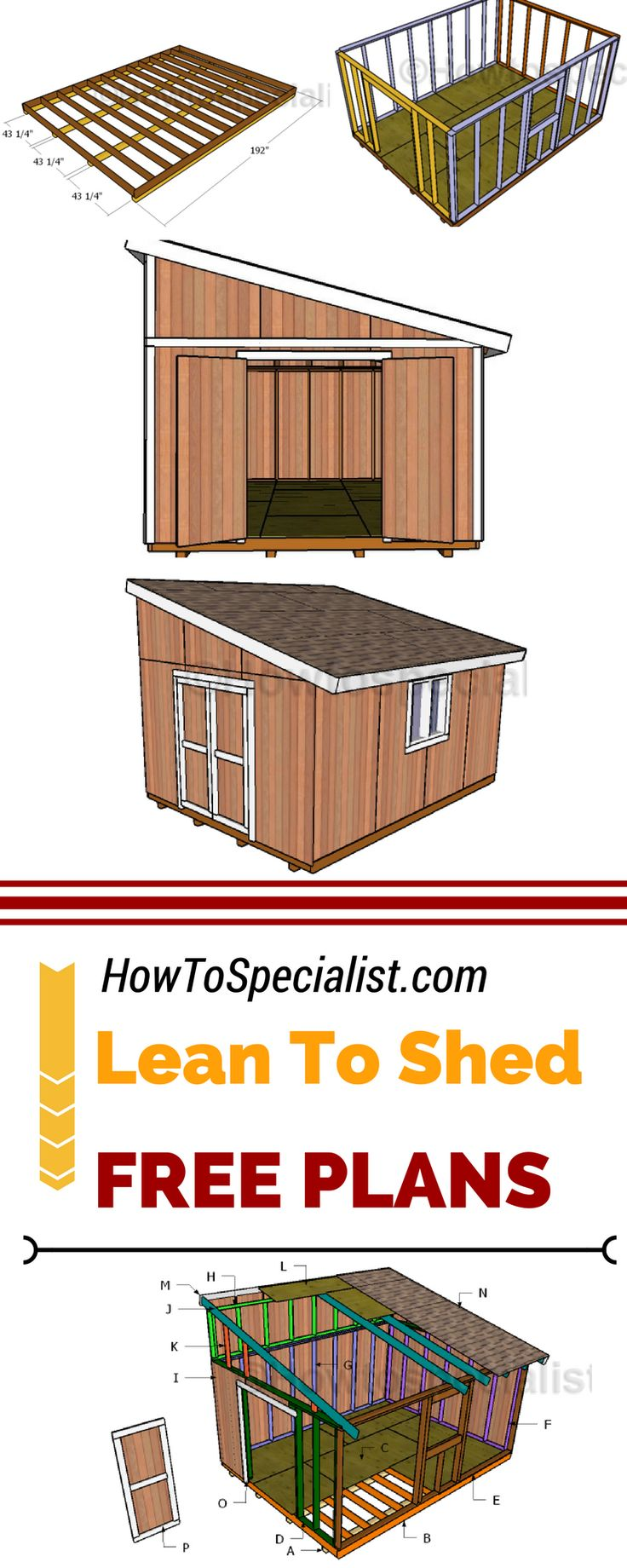 Best 25 shed plans ideas on pinterest storage shed for Lean to house designs