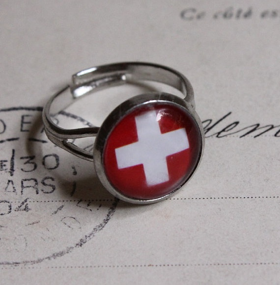 Swiss flag Ring white cross ring red adjustable ring by acanthusjd,