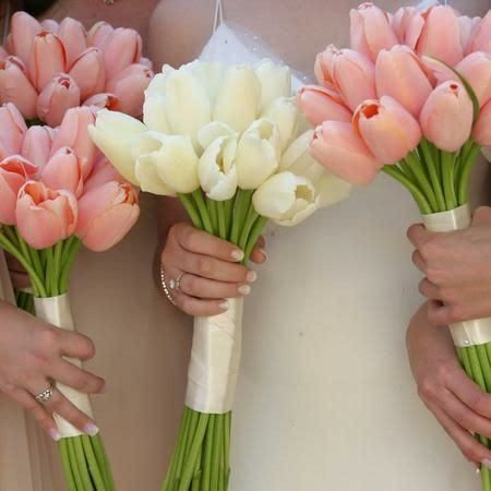 Bride's Bouquet: White Tulips   Bridesmaid's Bouquet: Pink Tulips