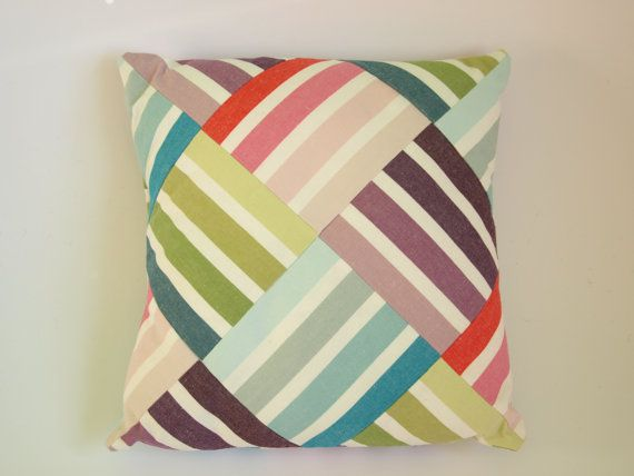 Striped Patchwork Cushion/ Pillow Cover - idea Mand? If stripey shirt can do diagonal??