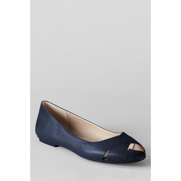 Lands' End Women's Blythe Open Toe Ballet Shoes ($25) ❤ liked on Polyvore featuring shoes, flats, classic navy, ballet flats, navy blue flats, metallic ballet flats, navy blue leather flats and leather shoes