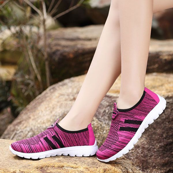 Women Breathable Mesh Health Sport Casual Slip On Flats