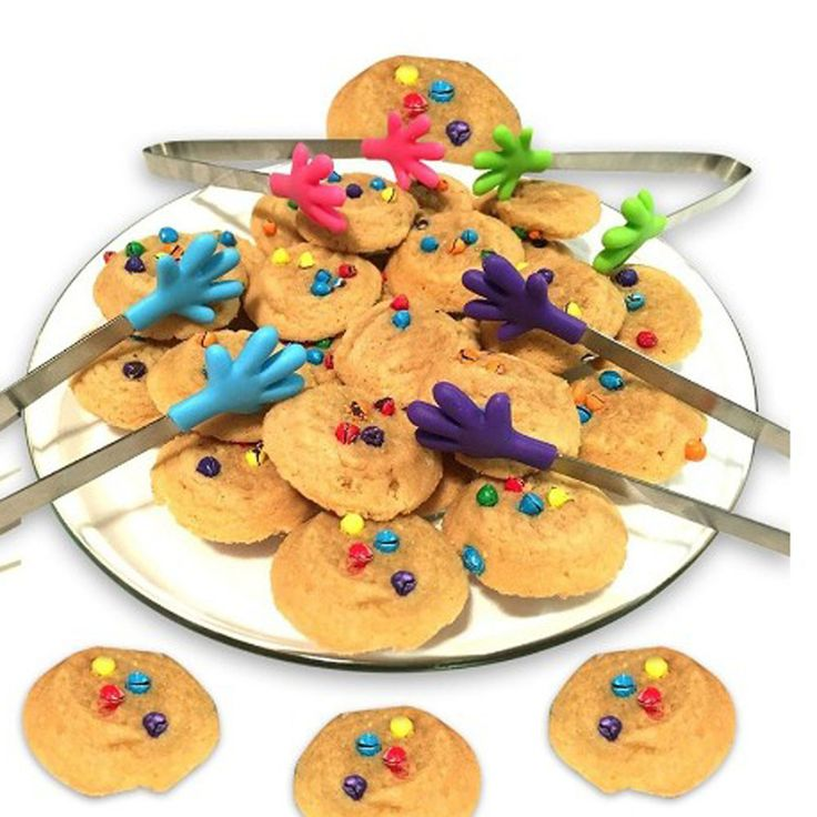 Cute Style Mini Stainless Steel Food Tongs Clip,Silicone Hand Design Cookie Server
