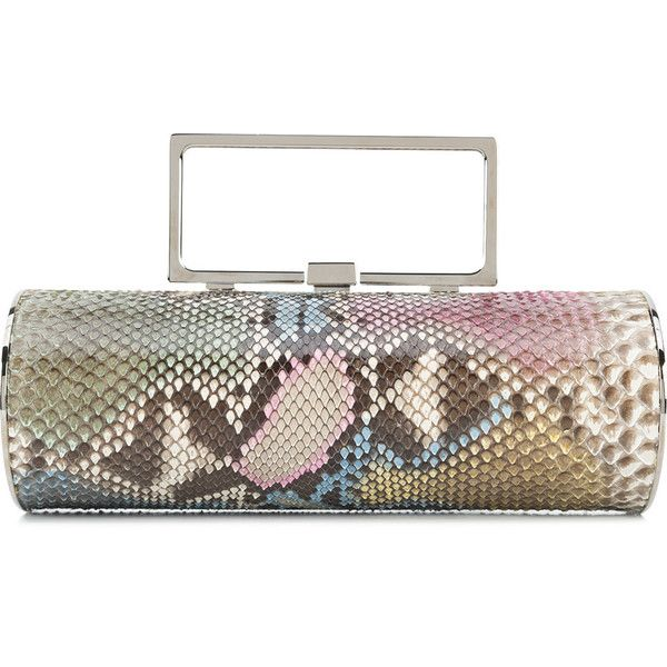 Elisabeth Weinstock pastel snake clutch ($1,365) ❤ liked on Polyvore featuring bags, handbags, clutches, multicolour, structured handbags, colorful clutches, snake handbags, white handbag and tri color handbags