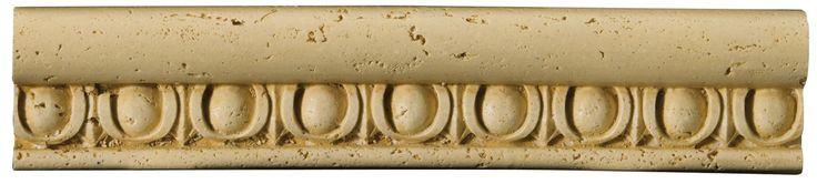 """Natural Stone 12"""" x 2"""" x 0.37"""" Romansa Ovoli Travertine Chair Rail"""