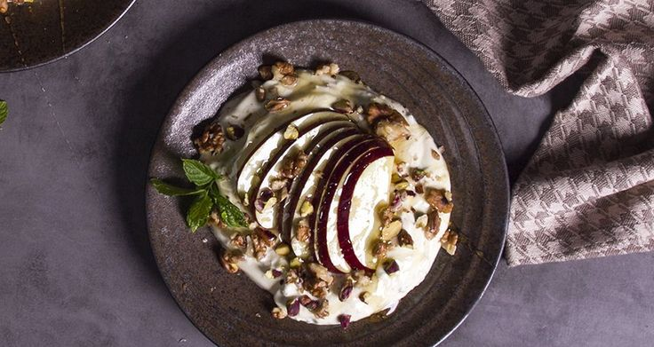 Taste this amazing yogurt with apples, honey and spices!. A refreshing, healthy sweet that can be served for breakfast, dessert or even snack!!
