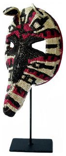 """Enbera Tribe, Panama: Palm Fiber Anteater Mask with Stand - Tropical - Accessories And Decor - by Relique. 7"""" W x 13.5"""" D x 5"""" H"""