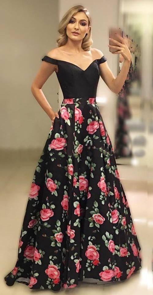 99ced5f43e3 Off Shoulder Sleeves Black Floral Prom Dress Custom Color   Size Yes ...
