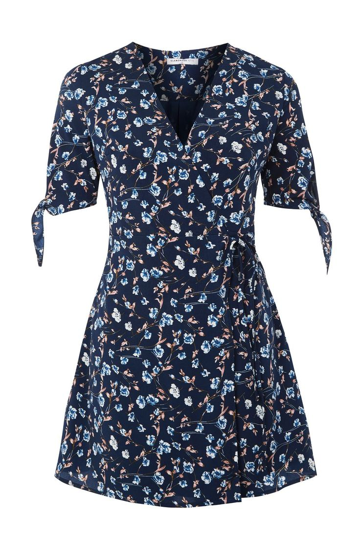 **Ditsy Floral Print Wrap Front Dress by Glamorous Petite - Dresses - Clothing - Topshop