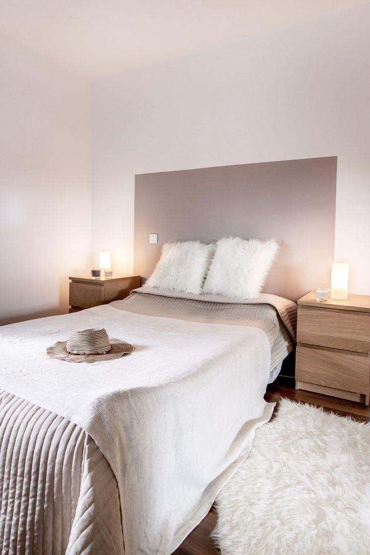 Chambre Decoration Taupe Et Blanc Beige Bois Diy Tete De Lit