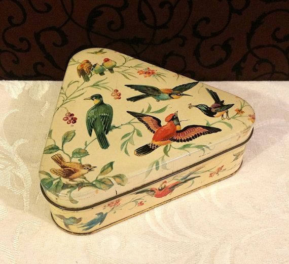 Mid Century Tin Box, French Box, Triangle, Triangular Box, Birds, Bird Lover Gift, Bird Watcher Gift, Decorative Vintage Tin Box