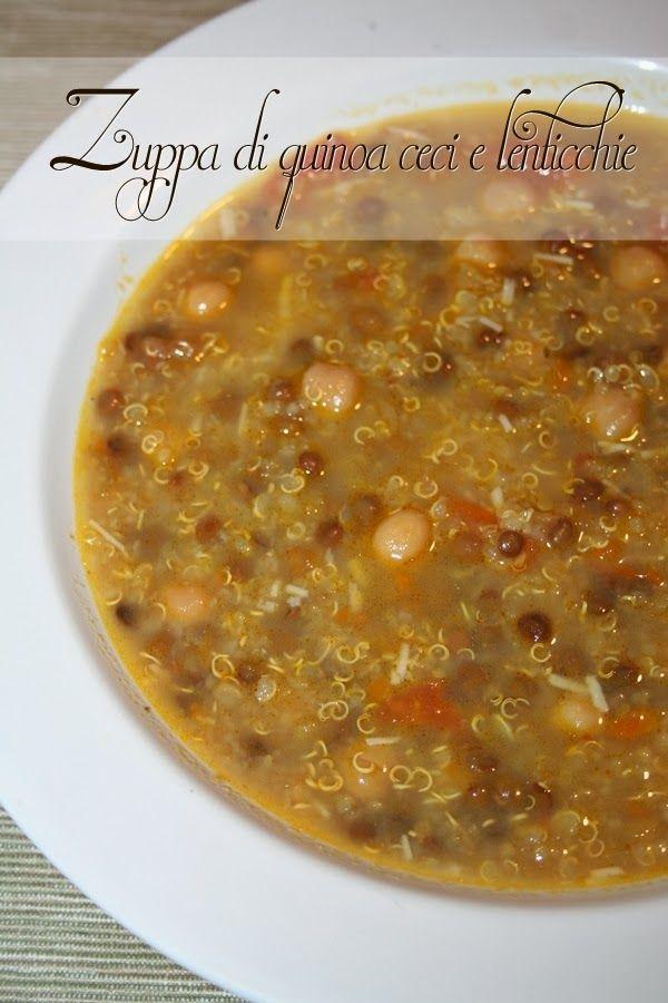 Zuppa di quinoia ceci e lenticchie