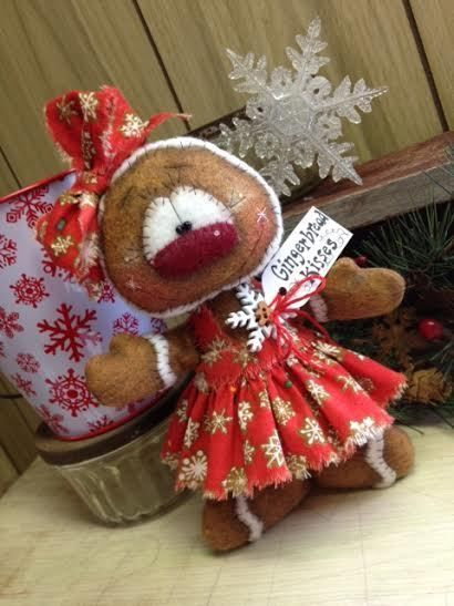 Primitive Raggedy Christmas  Gingerbread Snowman Doll Winter Snow Shelf Sitter  #Unbranded #Christmas