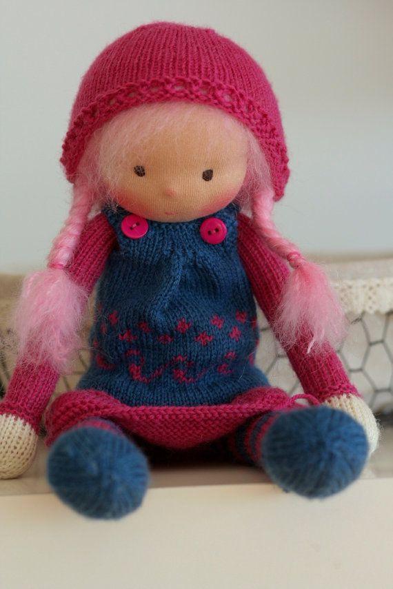 Waldorf knitted doll Chloe 13 by Peperuda dolls by danielapetrova