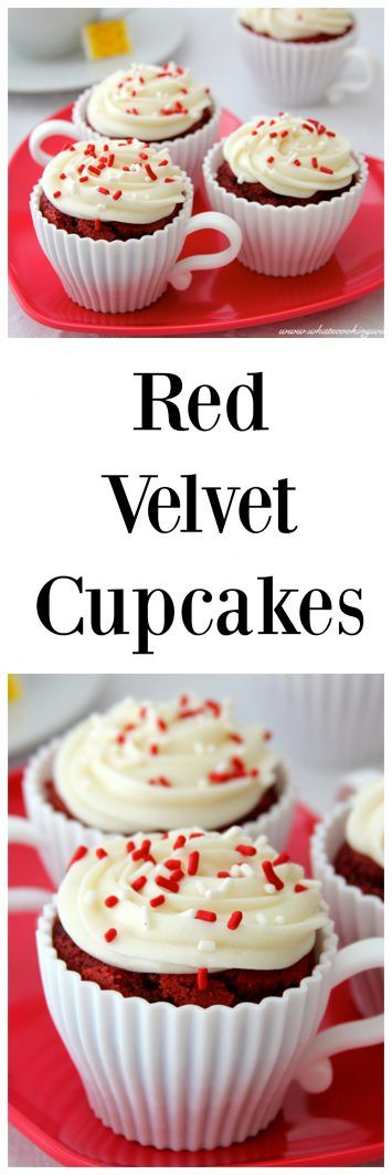 Red Velvet Cake always remind me of Valentines Day and of course, cupcakes are easy to share! www.cookingwithruthie.com