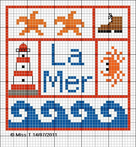cross stitch chart pattern la mer french the sea nautical crab starfish lighthouse / not sure about the hiking boot