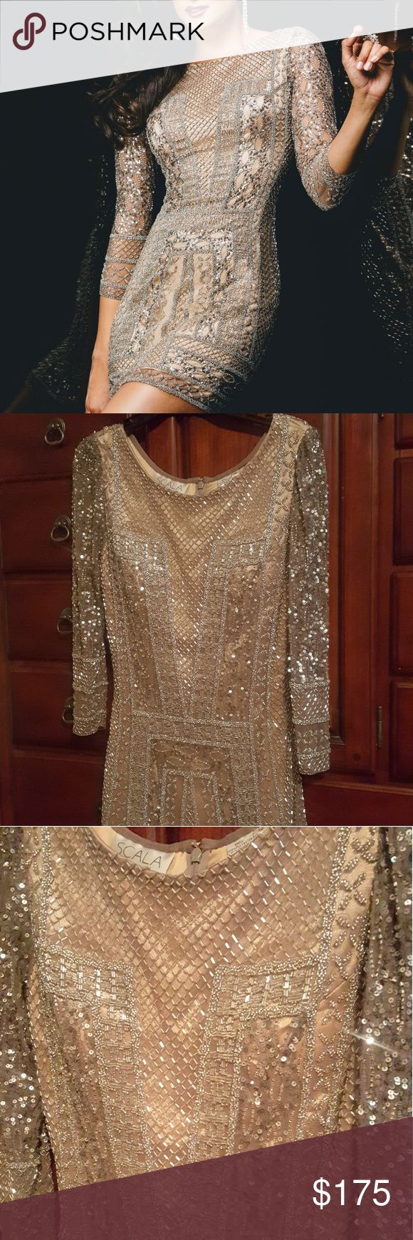 🌻SALE🌻SCALA BEADED DRESS SCALA STYLE # 48377 BASIC BEAUTIFUL CLASSY FIT! 3/4 LENGTH SLEEVES GORGEOUS!THE PERFECT DRESS! SIZE 12 (RUNS SMALL MORE LIKE 8/10) SEE SIZING CHART WORN ONCE-ANY MISSING/LOOSE BEADING REFLECTED IN PRICE COLOR PLATINUM NUDE UNDERLINING 100% POLYESTER EMBELLISHED THROUGHOUT 100% TULLE COMES W/GARMENT BAG. INVISIBLE FULL ZIPPER HOOK CLOSURE ON BACK MINI LENGTH(OR DEPENDING HOW TALL/SHORT YOU ARE) EXPENSIVE QUALITY,GLAMOROUS,SHINY *ASK QUESTIONS BEFORE PURCHASE, NO…