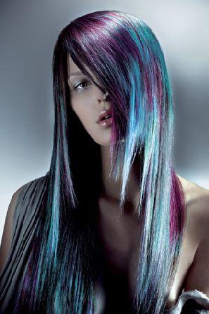 Purple & Blue: Purple Hair, Mermaids Hair, Hair Colors, Black Hair, Blue Hair, Colors Combinations, Layered Hair, Crazy Hair Style Colors, Colors Hair
