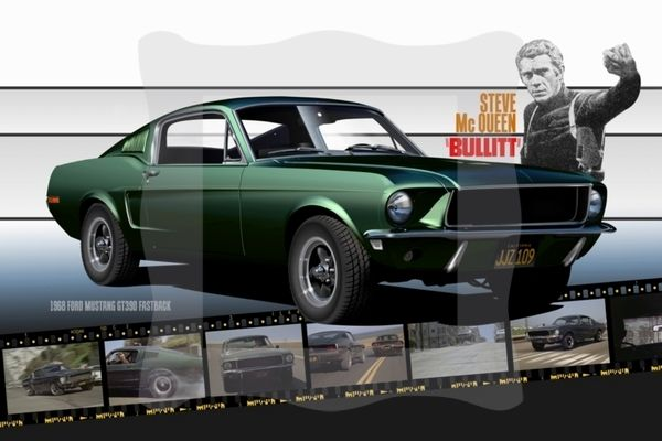 Steve McQueen Bullitt Poster showing one of my favorite cars of all time - the 1968 Ford Mustang. Hell, I just like Ford Mustangs period.