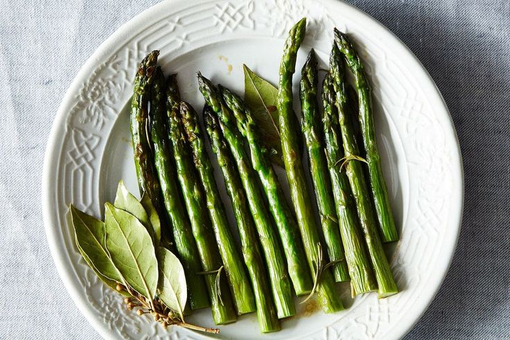 Savor spring with this delicious looking asparagus recipe with fresh rosemary and bay leaves.