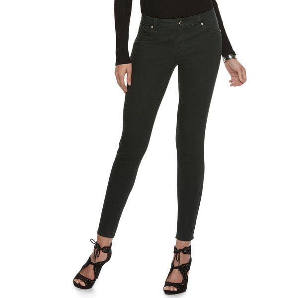 Women's Jennifer Lopez Skinny Jeans ($37) ❤ liked on Polyvore featuring jeans, black, jennifer lopez jeans, skinny fit jeans, skinny leg jeans, skinny jeans and zipper jeans