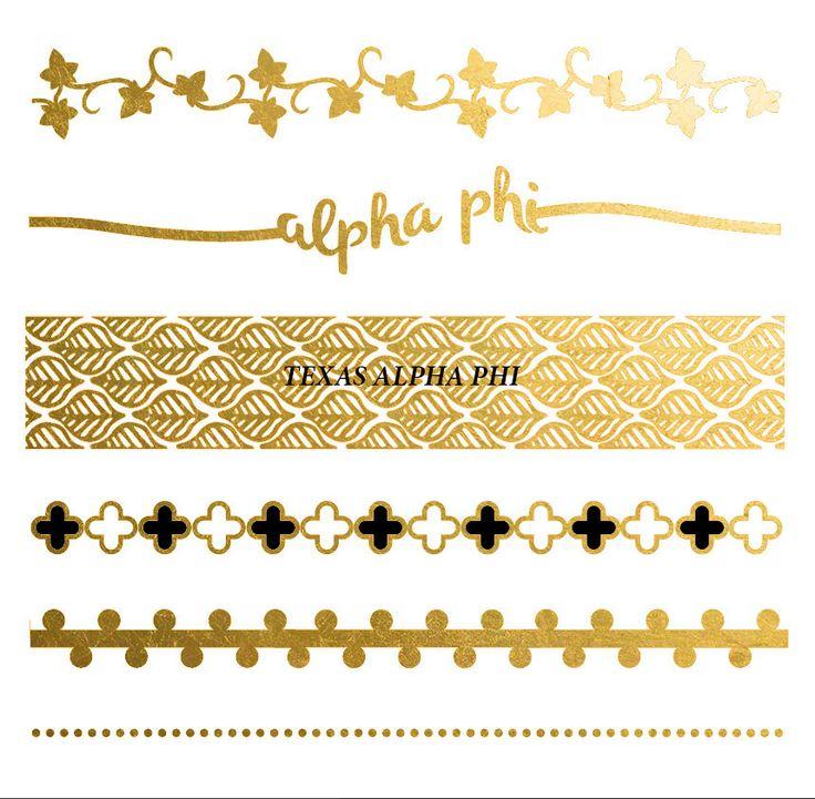 Custom metallic flash tattoo for Greek Life sorority event (Recruitment, Bid Day, Games)
