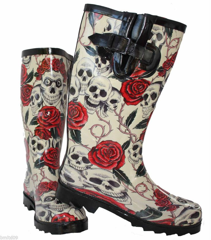 Ladies New Skull Roses Wellington Wellies Goth Flat Black Red Boots Rain Snow #Unbranded #WellingtonBoots