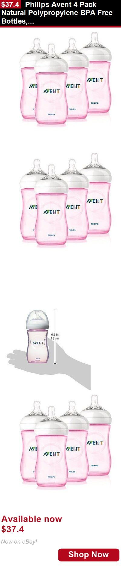 Baby Bottles: Philips Avent 4 Pack Natural Polypropylene Bpa Free Bottles, Pink, 9 Ounce BUY IT NOW ONLY: $37.4
