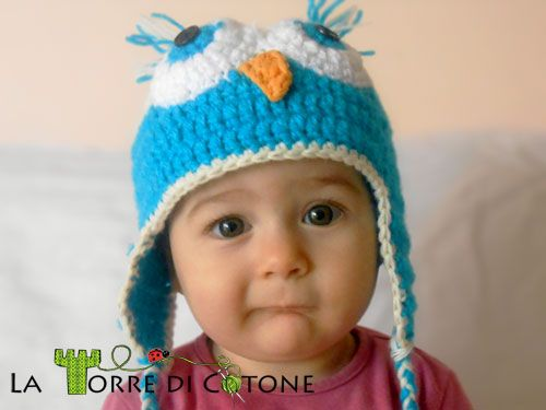 Cappelli: il gufetto. Cappellino a forma di gufo realizzato all'uncinetto, cappelli, crochet, cuffietta neonato, uncinetto, cappello gufo