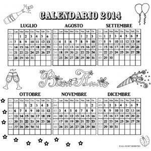 Disegno di Calendario 2014 da Luglio a Dicembre da colorare