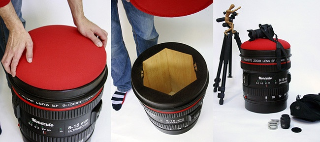 Regalos decorativos para fotógrafos: taburete con forma de objetivo