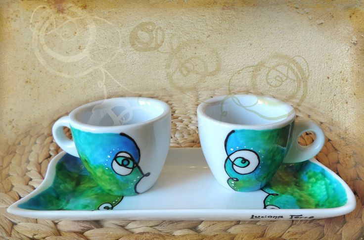 coppia tazzine da caffè e vassoio dipinti a mano di Luciana Torre SHOP - ceramica, foulards e accessori tessili, dipinti a mano con amore su DaWanda.com