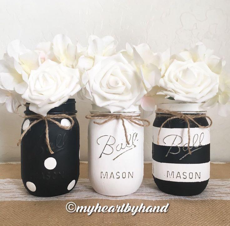 Black and White Mason Jar Centerpieces, Distressed Mason Jars, Rustic Home Decor, Painted Ball Jars, Baby Shower, Mason Jar Decor by MyHeartByHand on Etsy