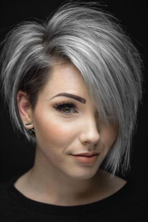 (paid link) premature grey hair treatment #greyhair in 2021 | Short hair model, Gray hair highlights, Grey hair transformation