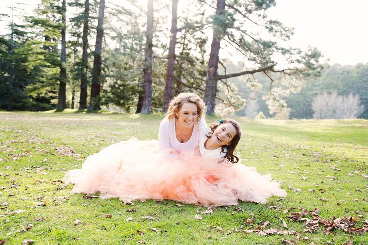 Beautiful mother and daughter  shoot with Romayse Tutus Apricot adult and Childs long tutu