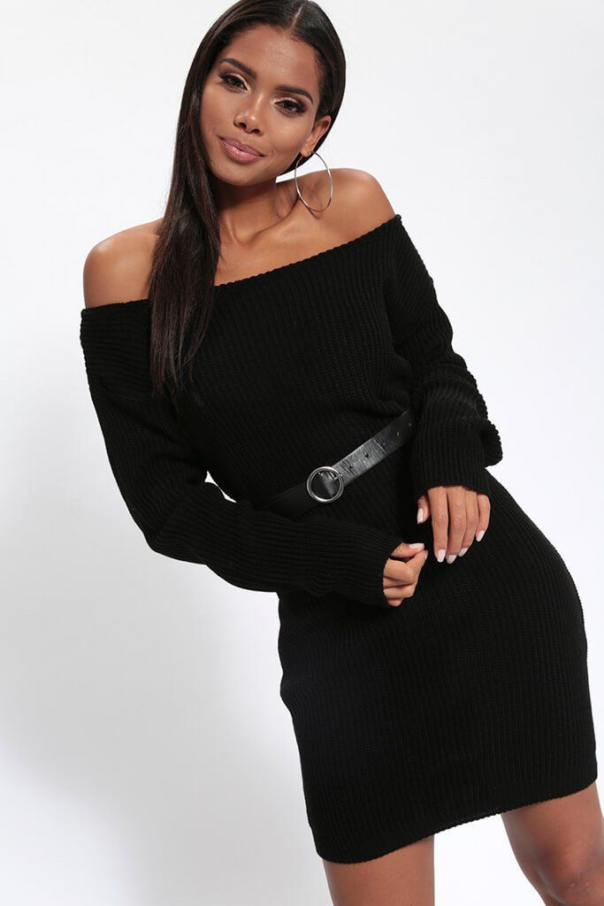 Black Slash Neck Knitted Jumper Dress In 2018 Jackie Xmas